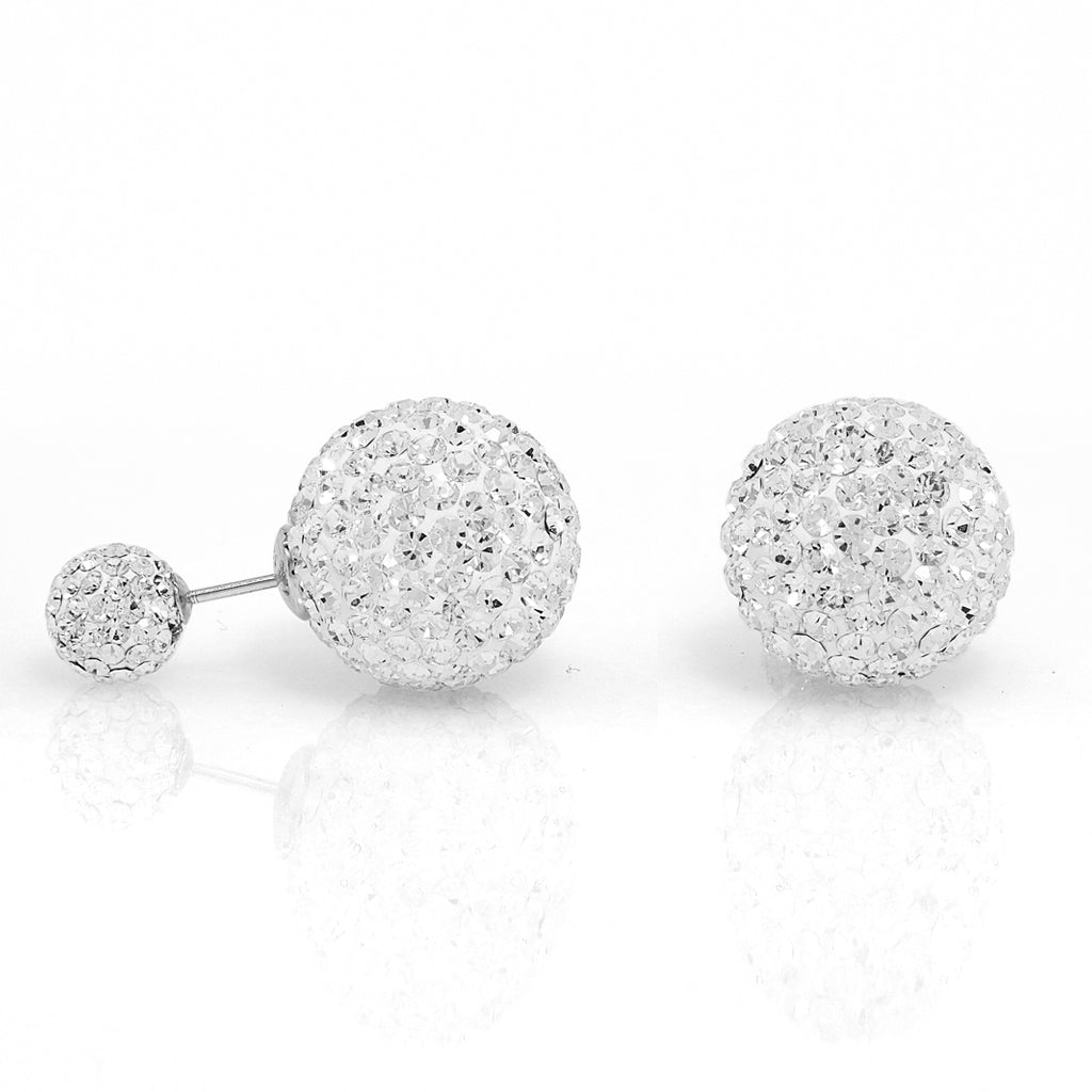 Sterling Silver Clear Bubble Back Crystal Ball Earrings