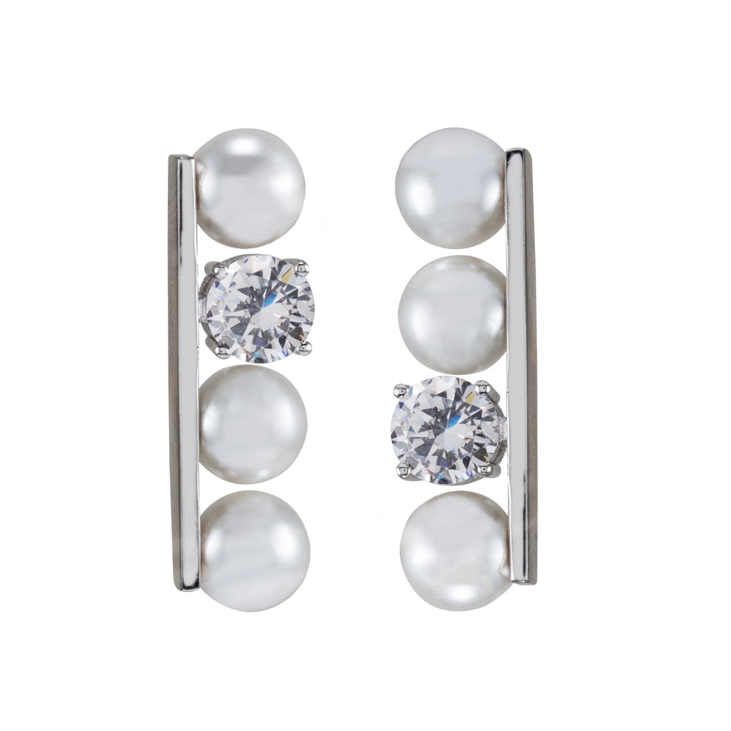 Sterling Silver 7mm Glass Pearls with Cubic Zirconia Drop Earrings