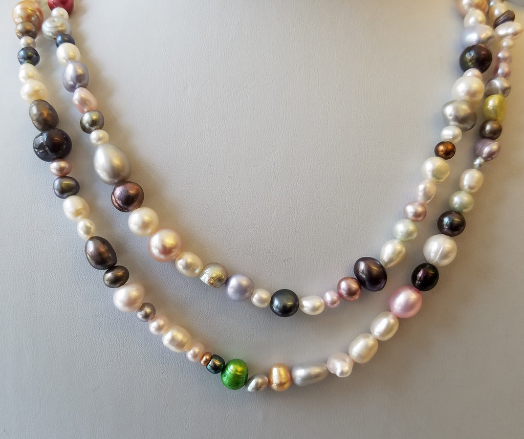 "36"" Mixed Color Fresh Water Pearl Necklace"