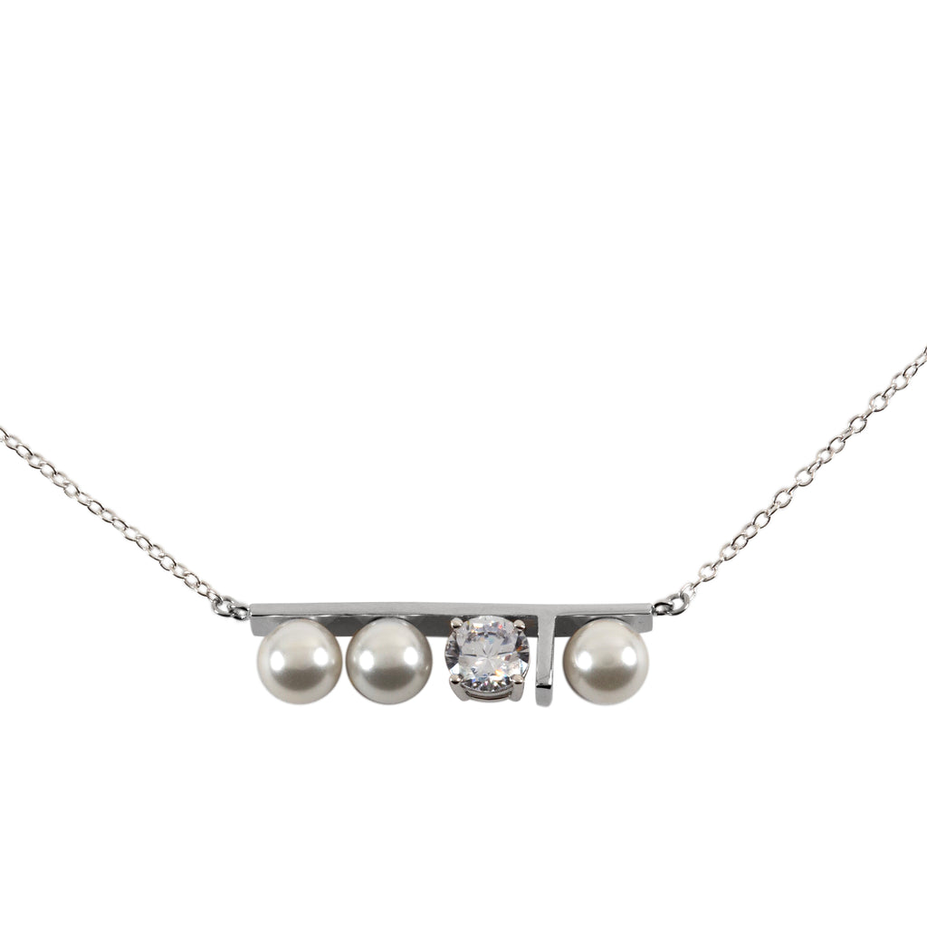 "Sterling Silver 7mm Glass Pearls with Cubic Zirconia 16"" necklace"
