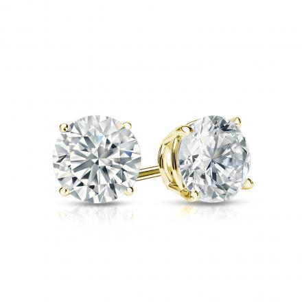 2 CT 14K Yellow Gold Round Cut Stud Earrings