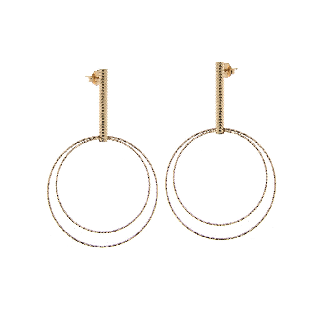 22k Gold Plated Sterling Silver Large Double Hoop Earrings