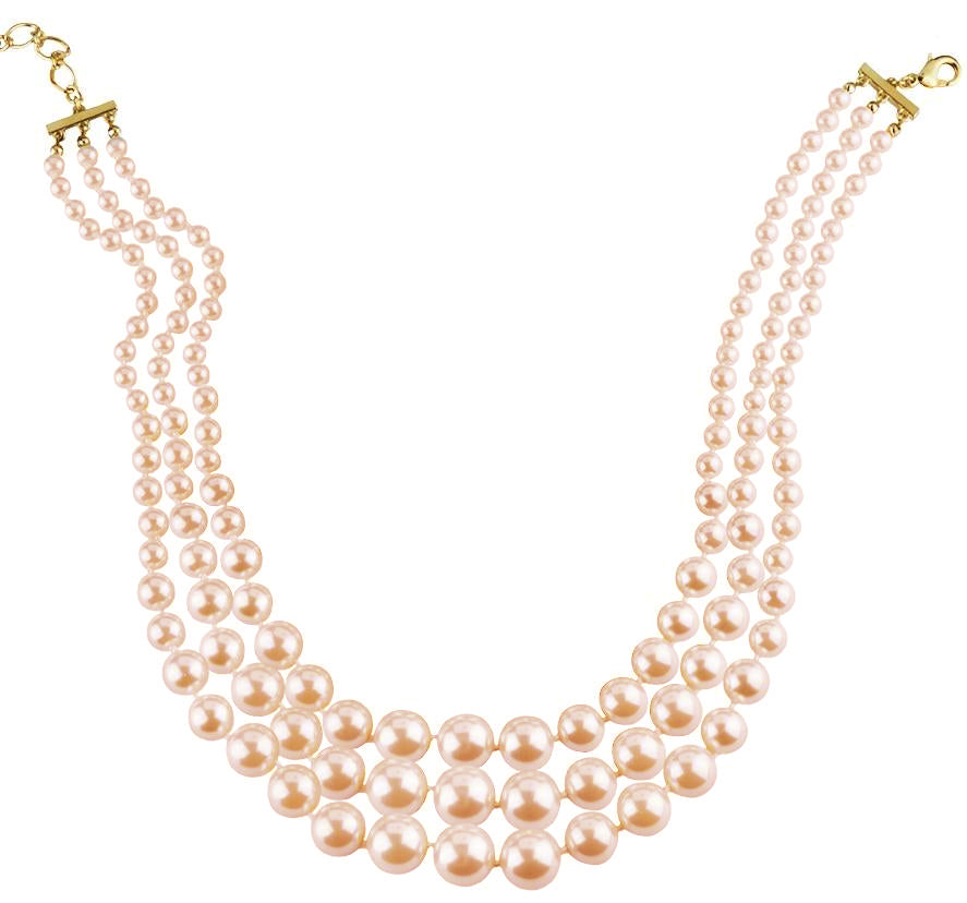 3 Strand Gold Tone Pink Pearls