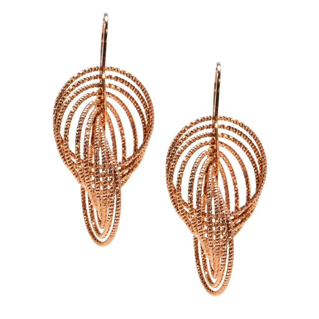 22k Rose Gold Plated Sterling Silver Drop Earrings