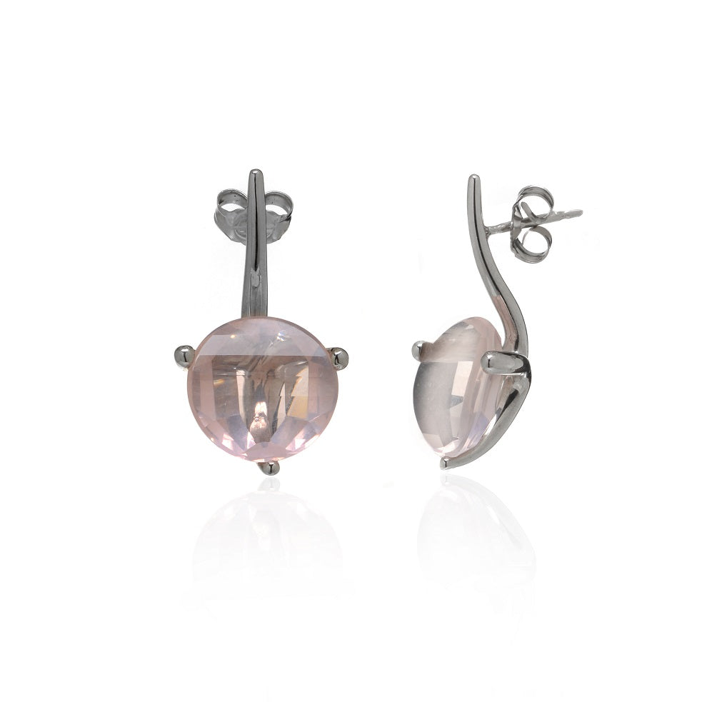 14k White Gold Rose Quartz Drop Earrings