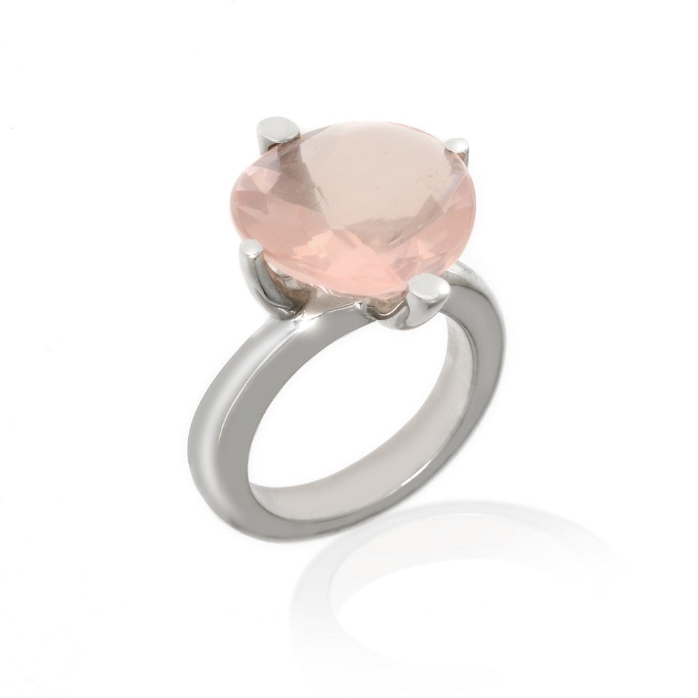 14k White Gold Rose Quartz Ring