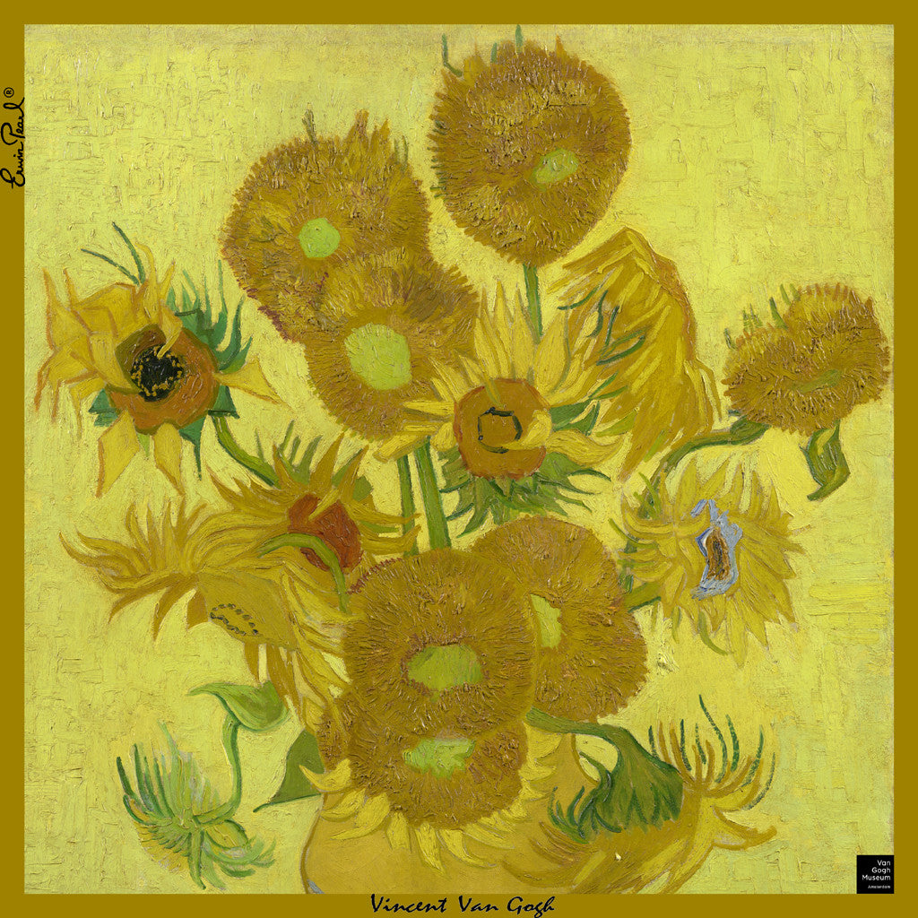 "Van Gogh Sunflowers Silk Pocket Square 14"" x 14"""