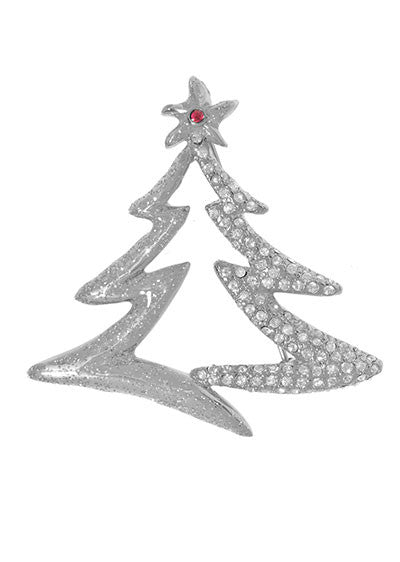 Silver Tone Austrian Crystals Tree Pin