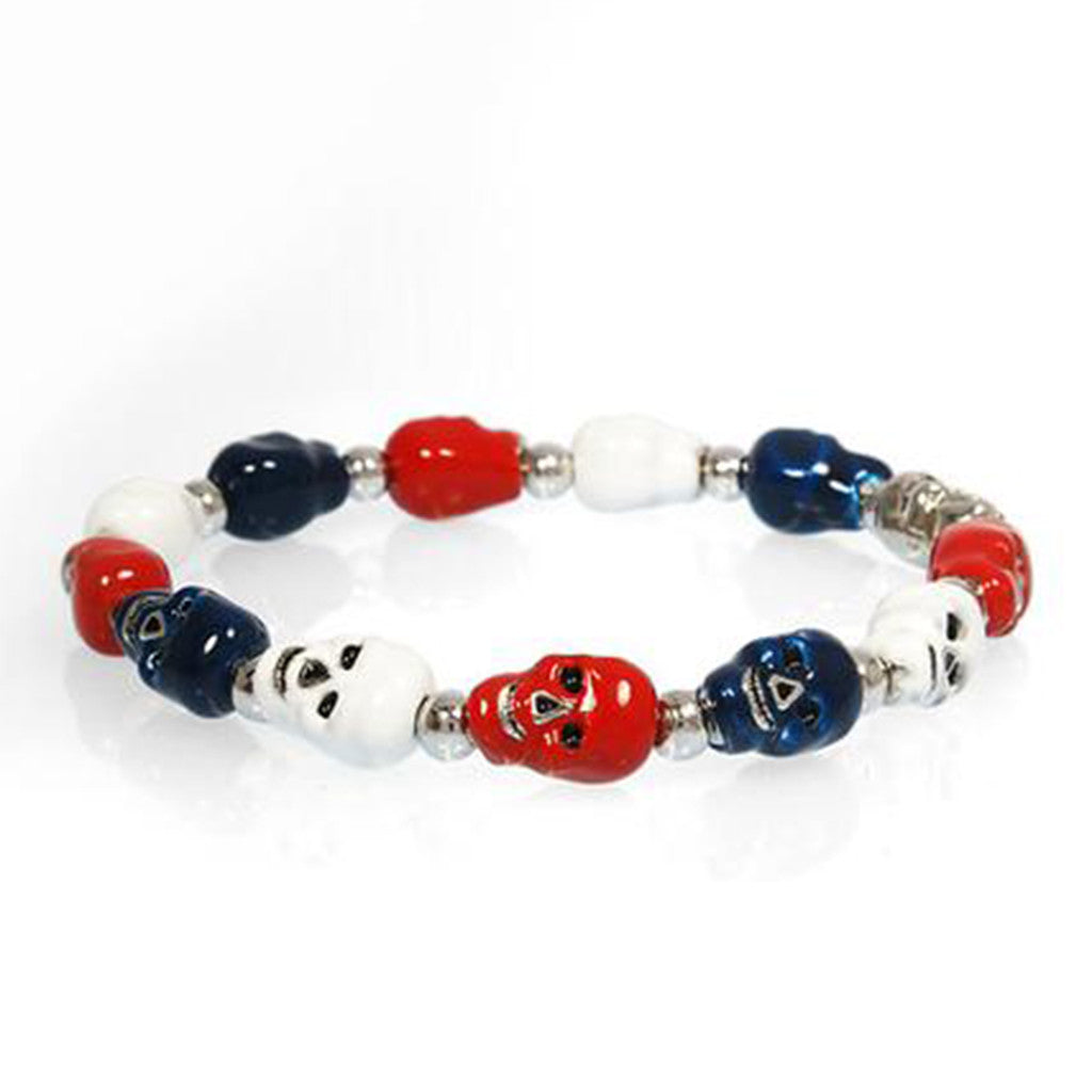 Silvertone Red White and Blue Skull Bracelet