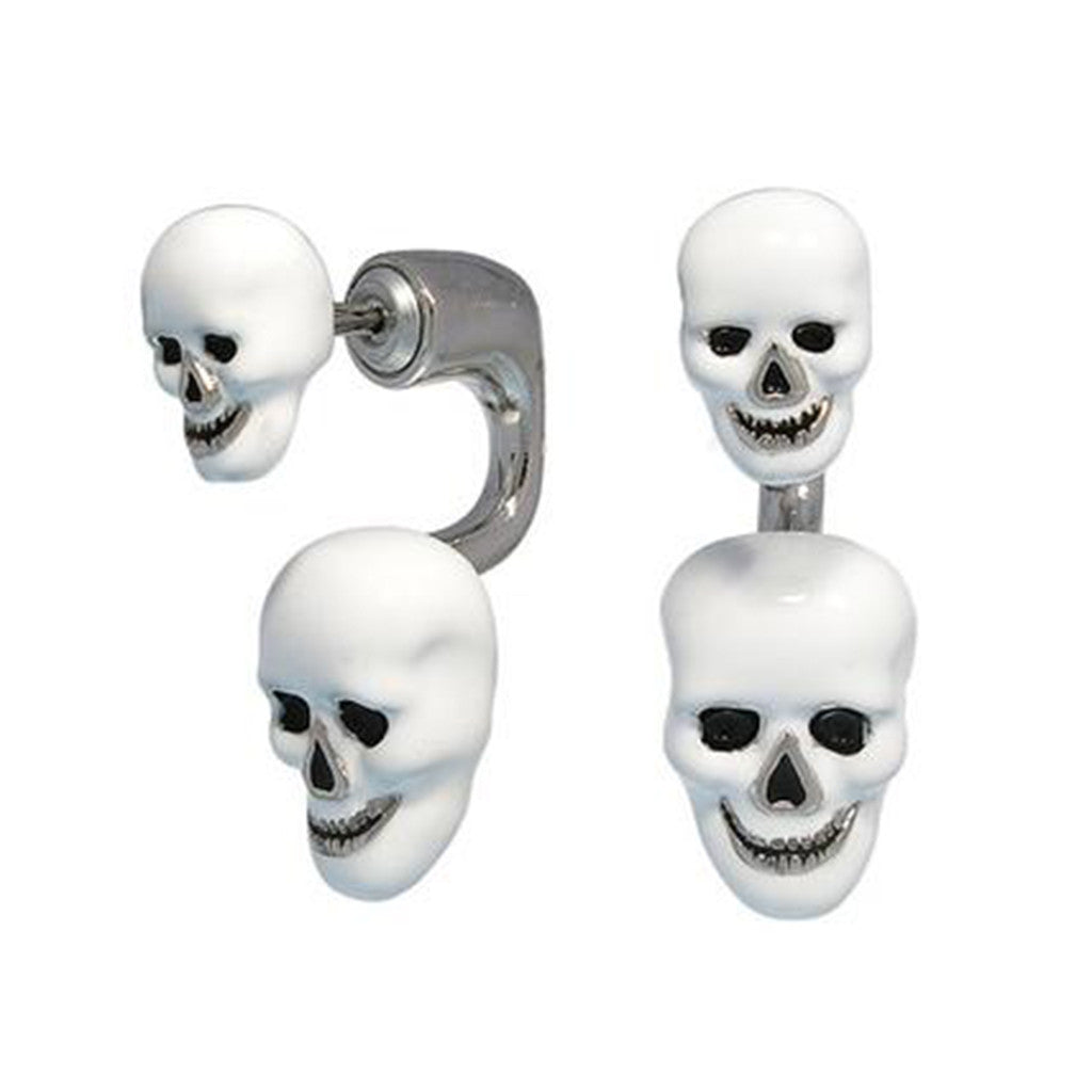Silvertone/White Enamel Double Skull Earrings