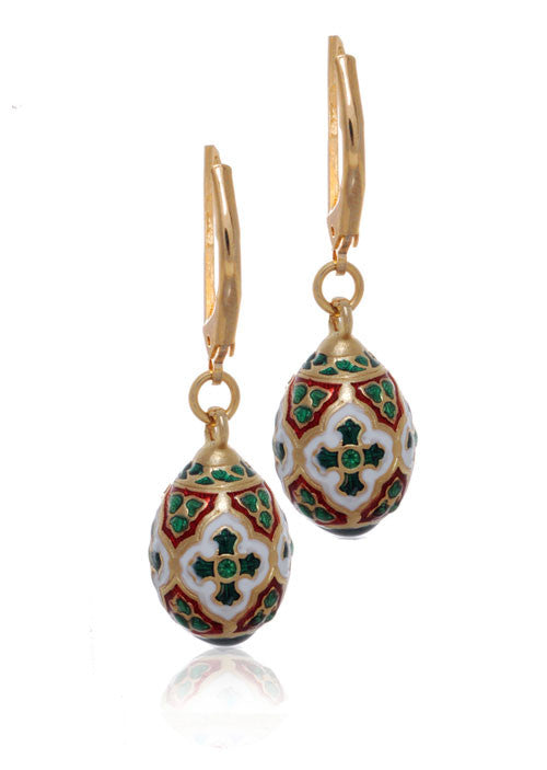 St. Petersburg Red and Green Egg Drop Earrings