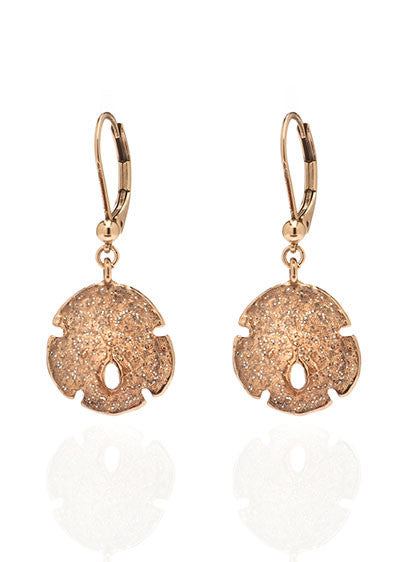 Stardust  Rose Gold Small Sand Dollar Earrings