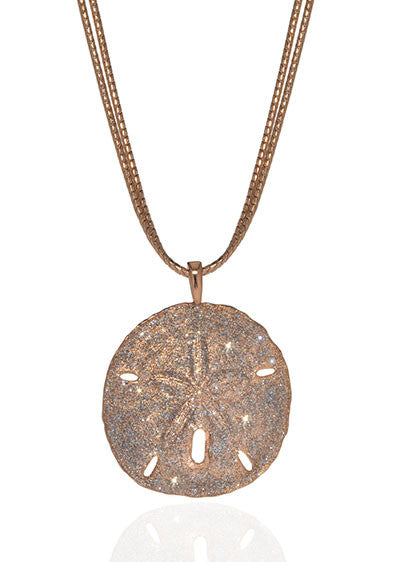 Stardust Rose Tone Sand Dollar On Double Chain Necklace