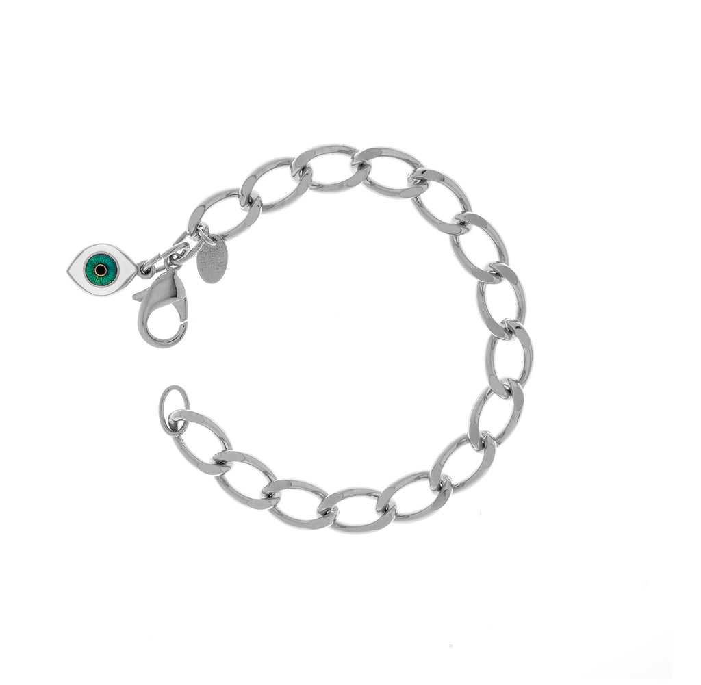 Rhodium Plated Steel Chain With Evil Eye Charm