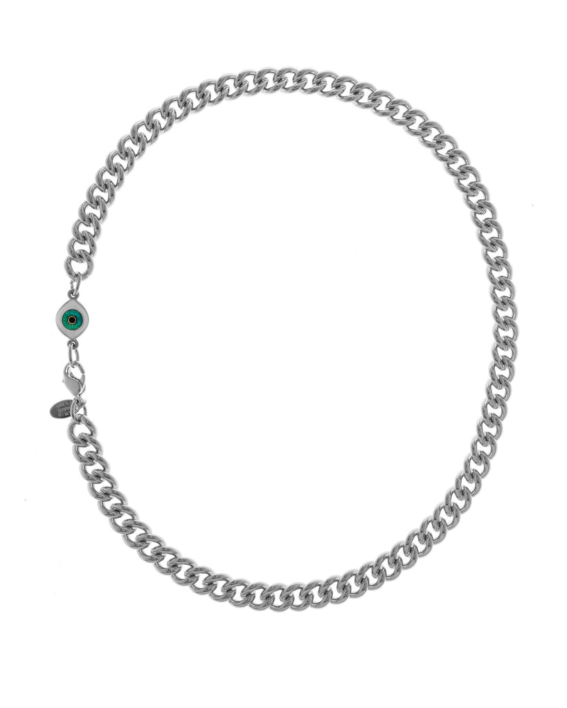 Rhodium Plated Brass Curb Chain With Evil Eye Charm 18""