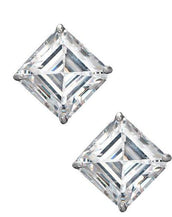 Sterling Silver Asscher Cut Stud Earrings 7ct
