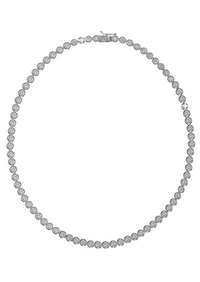 4 MM Bezel Sterling Silver Bezel Set Necklace