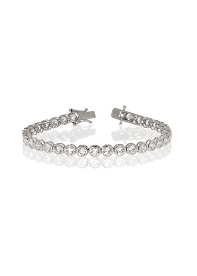 3 MM Sterling Silver Bezel Set Tennis Bracelet