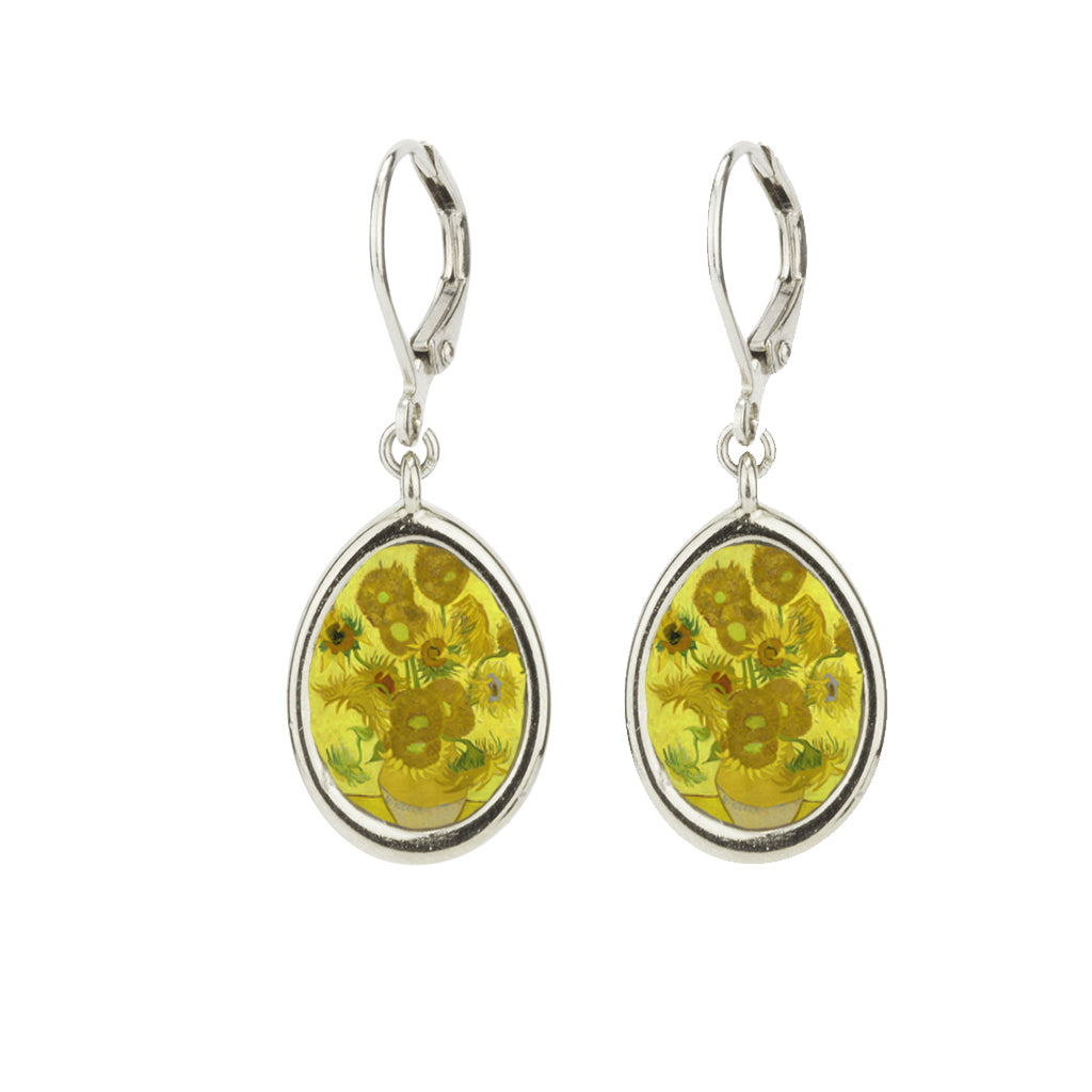 Rhodium Plated Small Sunflowers Leverback Earring