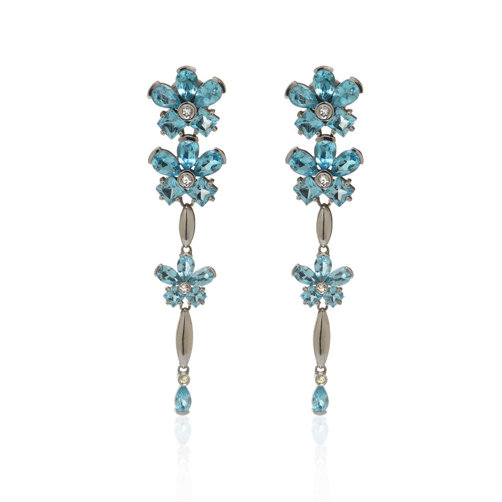 Blue Topaz Flower Drop Earrings Set in 14k White Gold