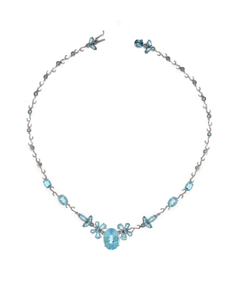 Blue Topaz Flower Necklace Set in 14k White Gold