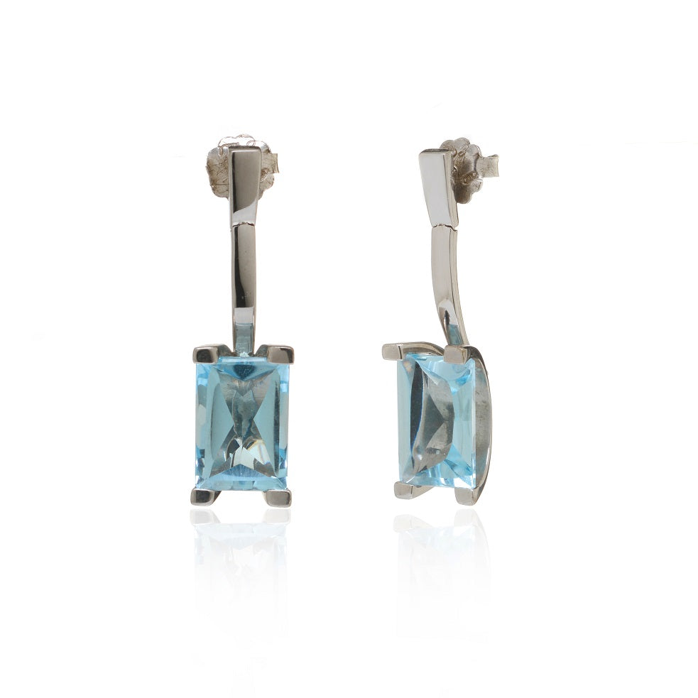 Princess Cut Blue Topaz Drop Earrings Set in 14k White Gold