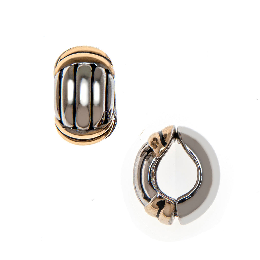 Two Toned Ribbed Reversible Hugs® Clip Earrings