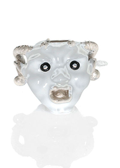 White Goldtone Horned Gargoyle Charm