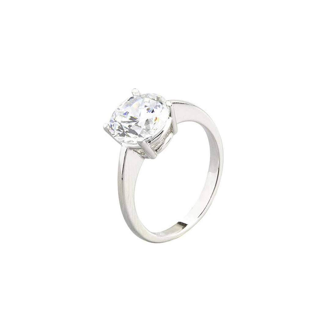 14K White Gold Cubic Zirconia Round Cut Ring 3 CT (Size 6)