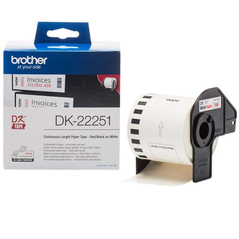 Brother DK22251 Printer Label - 62 mm Width x 15.24 m Length - White - Paper - 1 Roll