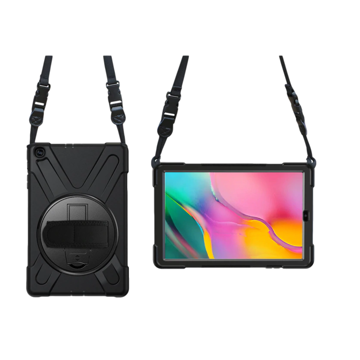 The rear and front view of the black Galaxy Tab A 10.5 case