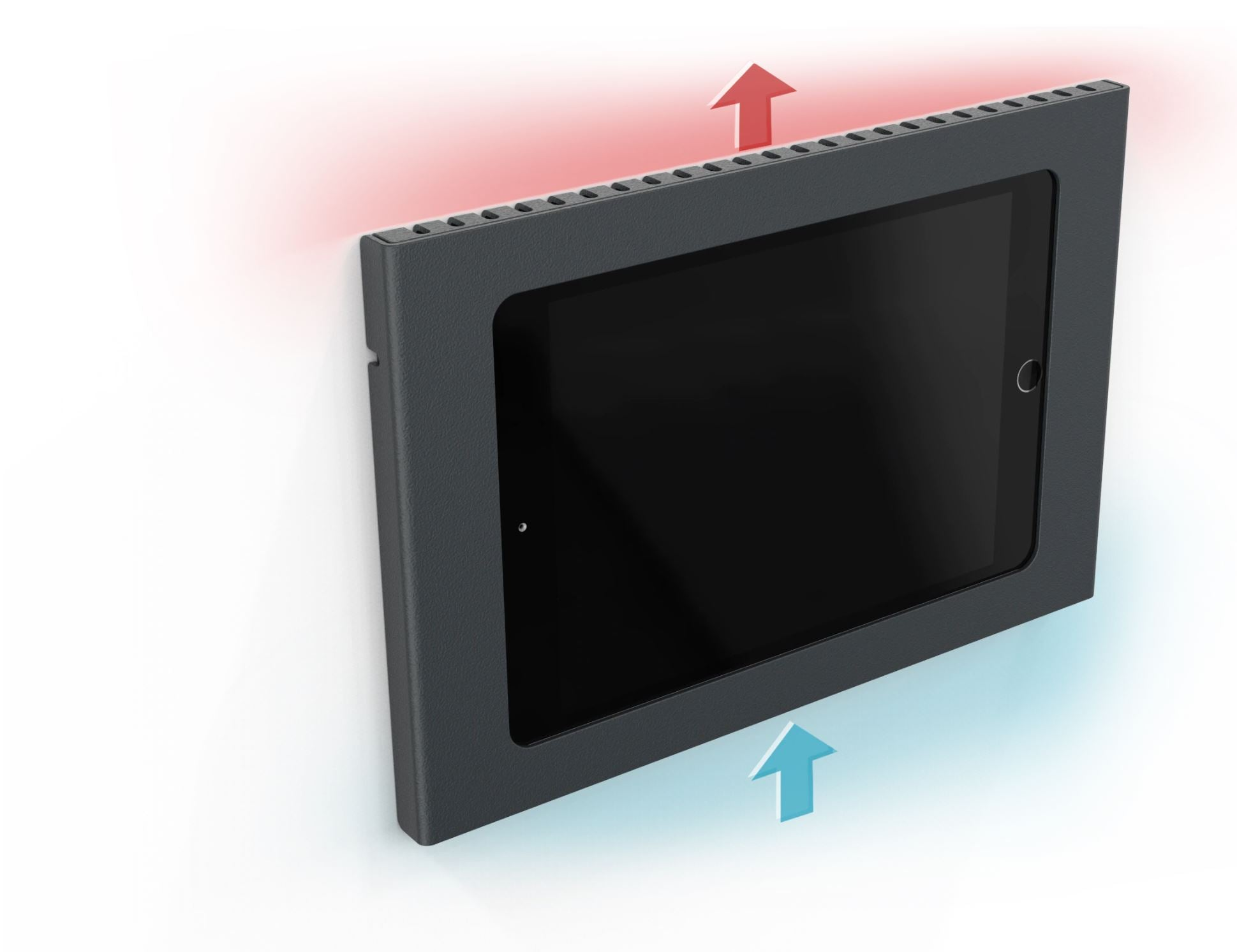 Heckler Wall Mount with PoE for iPad 10.2, black color, ventilation system