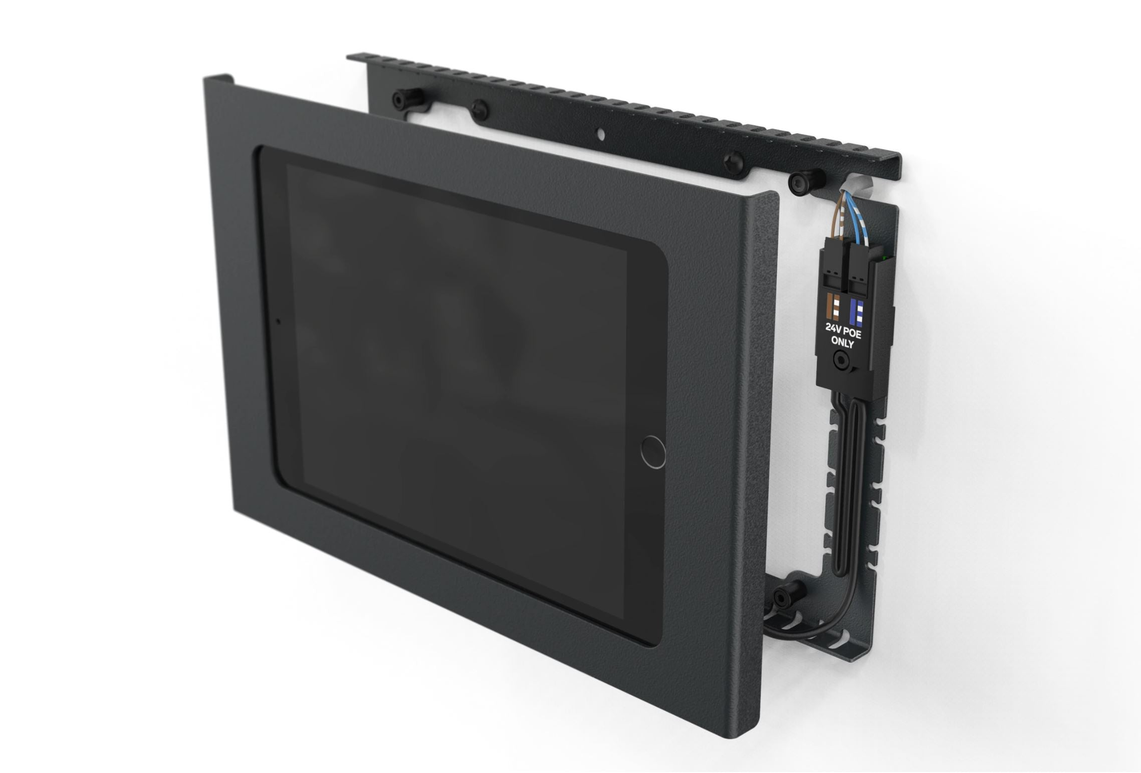 Heckler Wall Mount with PoE for iPad 10.2, black color, disassembled view