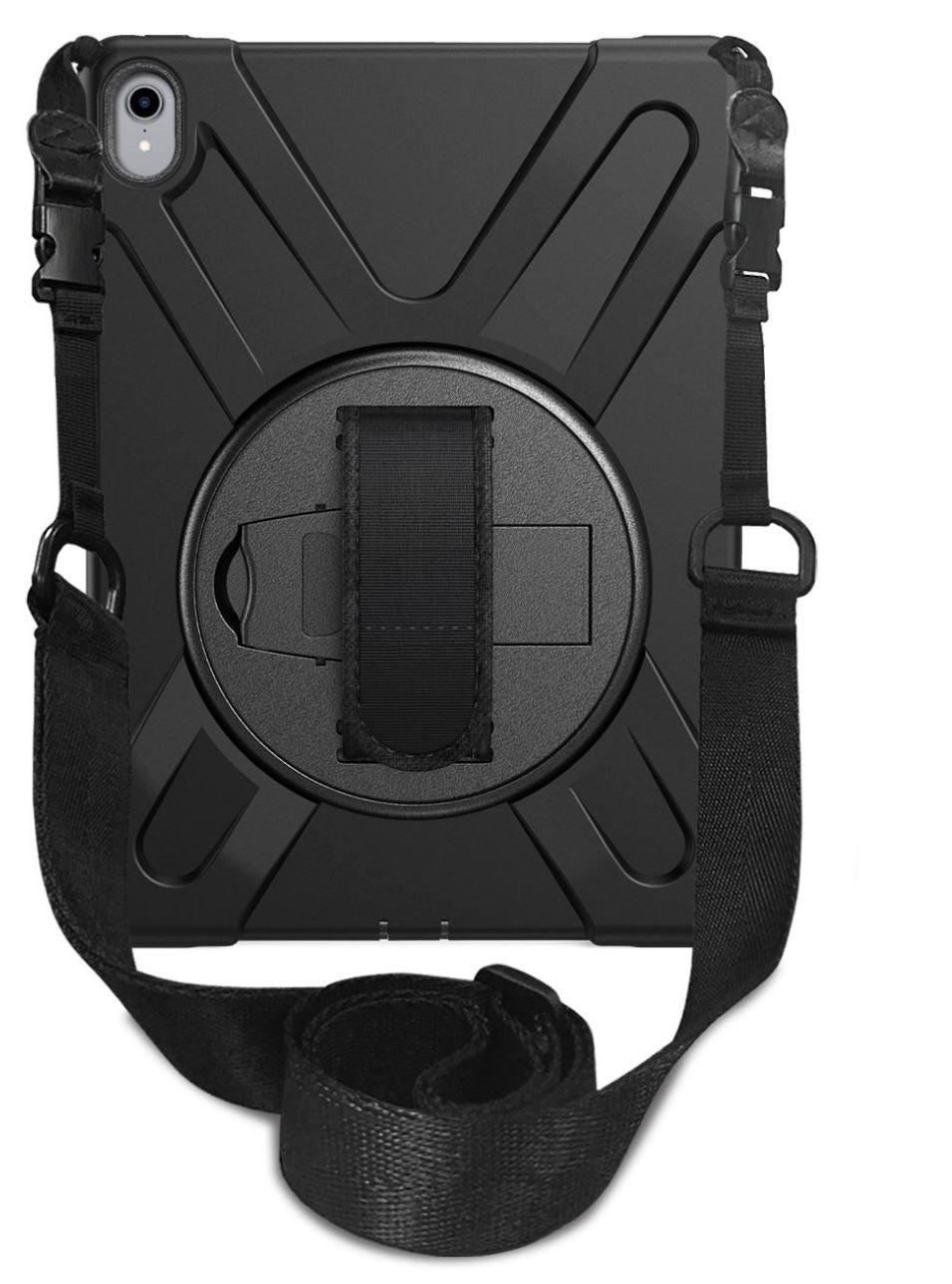 Black-colored protective case for iPad 12.9 with the shoulder strap, rear view