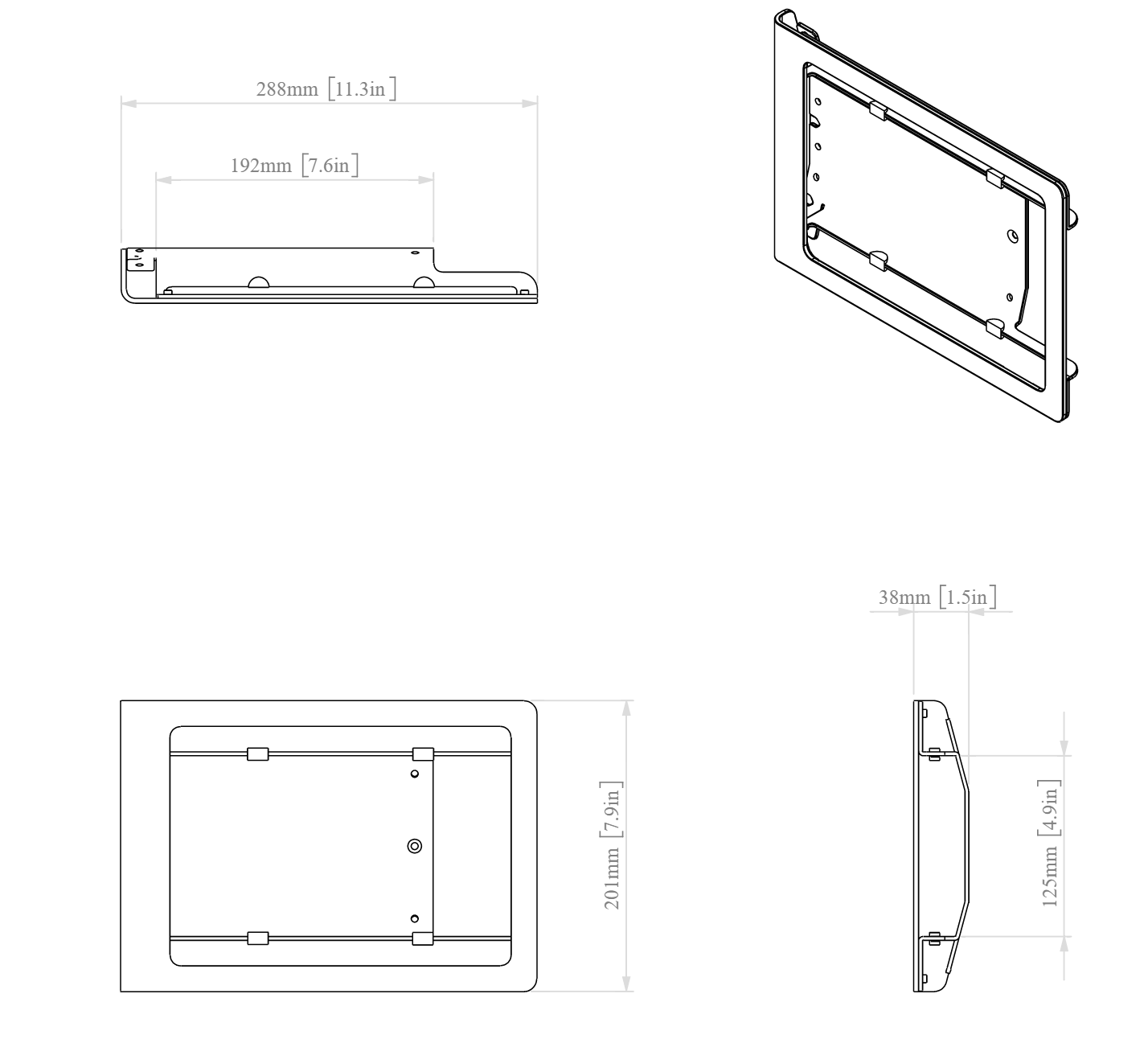 Heckler Windfall iPad 9.7 Multi Wall Mount dimensions