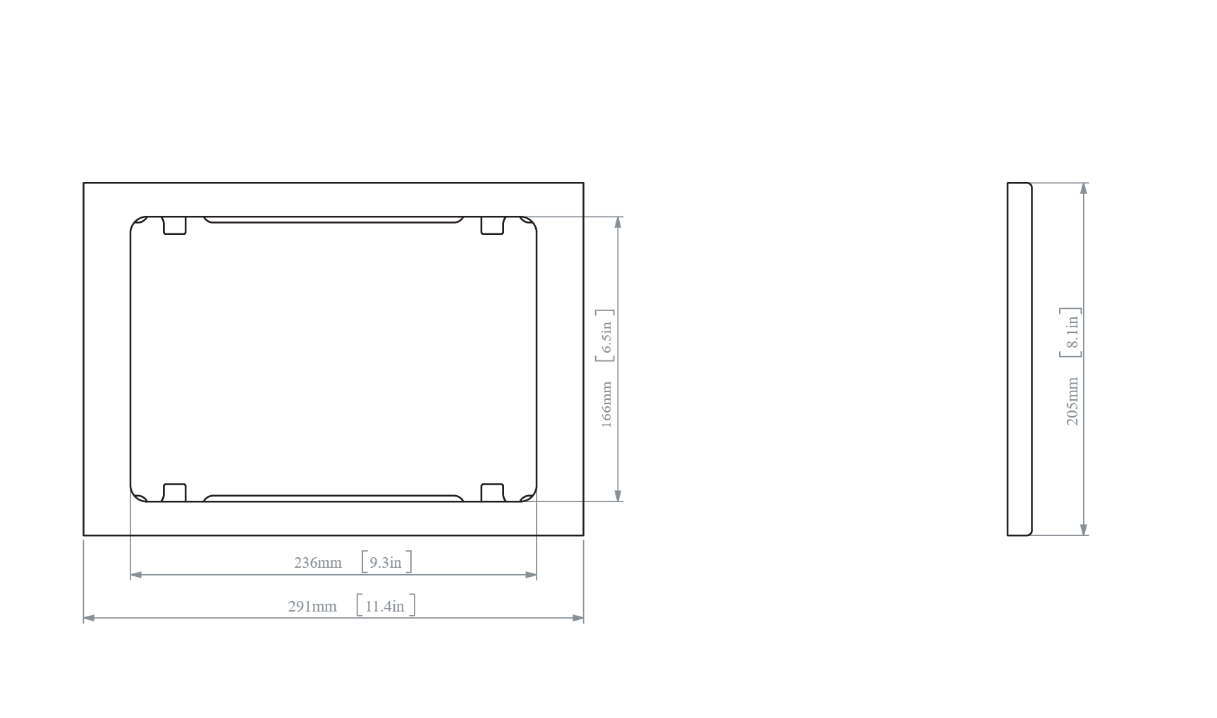 Heckler Wall Mount iPad 9.7 dimensions