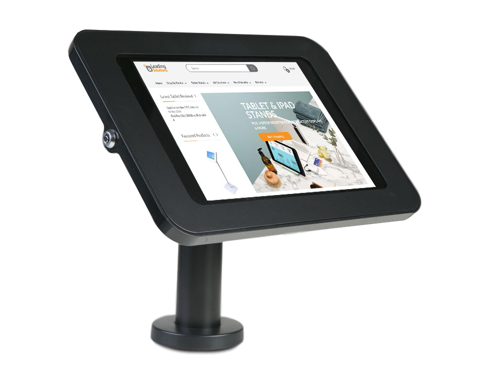 Tab Secure Desk Mount for iPad Pro 12.9, black color, the front view