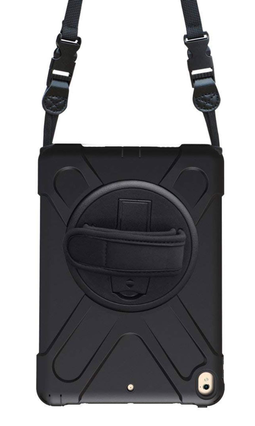 The rear of the black Galaxy Tab A 8.0 case with the shoulder & hand straps
