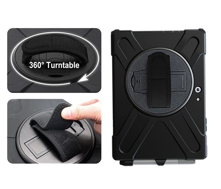 The adjustable hand strap is located on the rear of the protective case