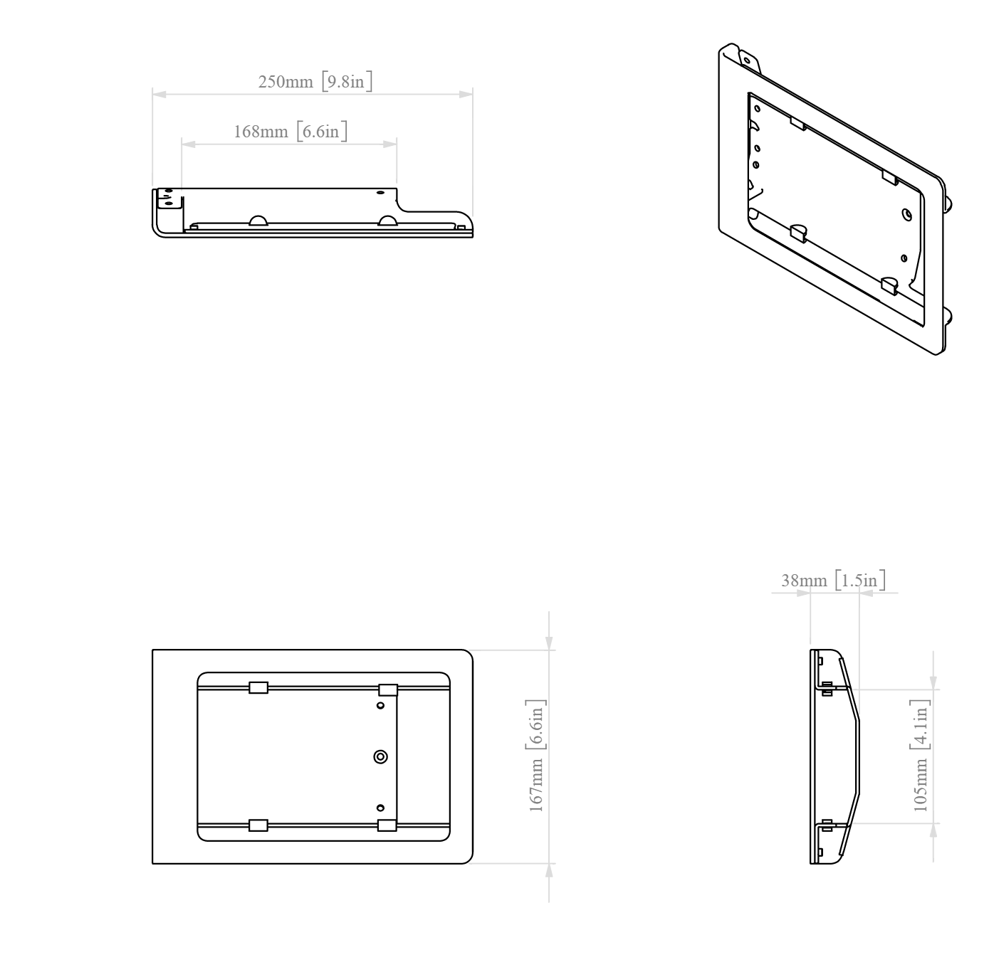 Heckler Windfall Multi Wall Mount for iPad Mini dimensions