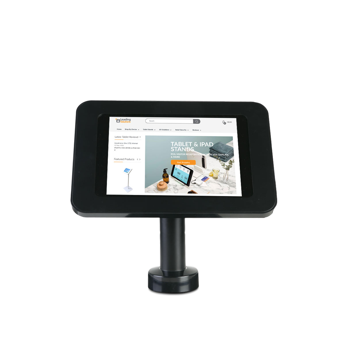 Tab Secure Desk Stand with Rotating Base for iPads and Tablets, black color, front view