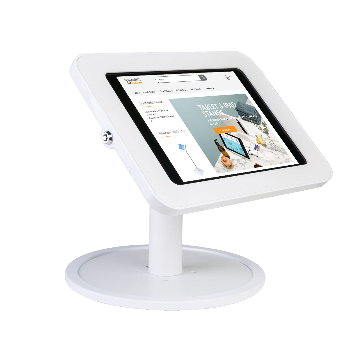 Tab Secure Desk Stand with Free Standing Base for iPads & Tablet, white color, front view