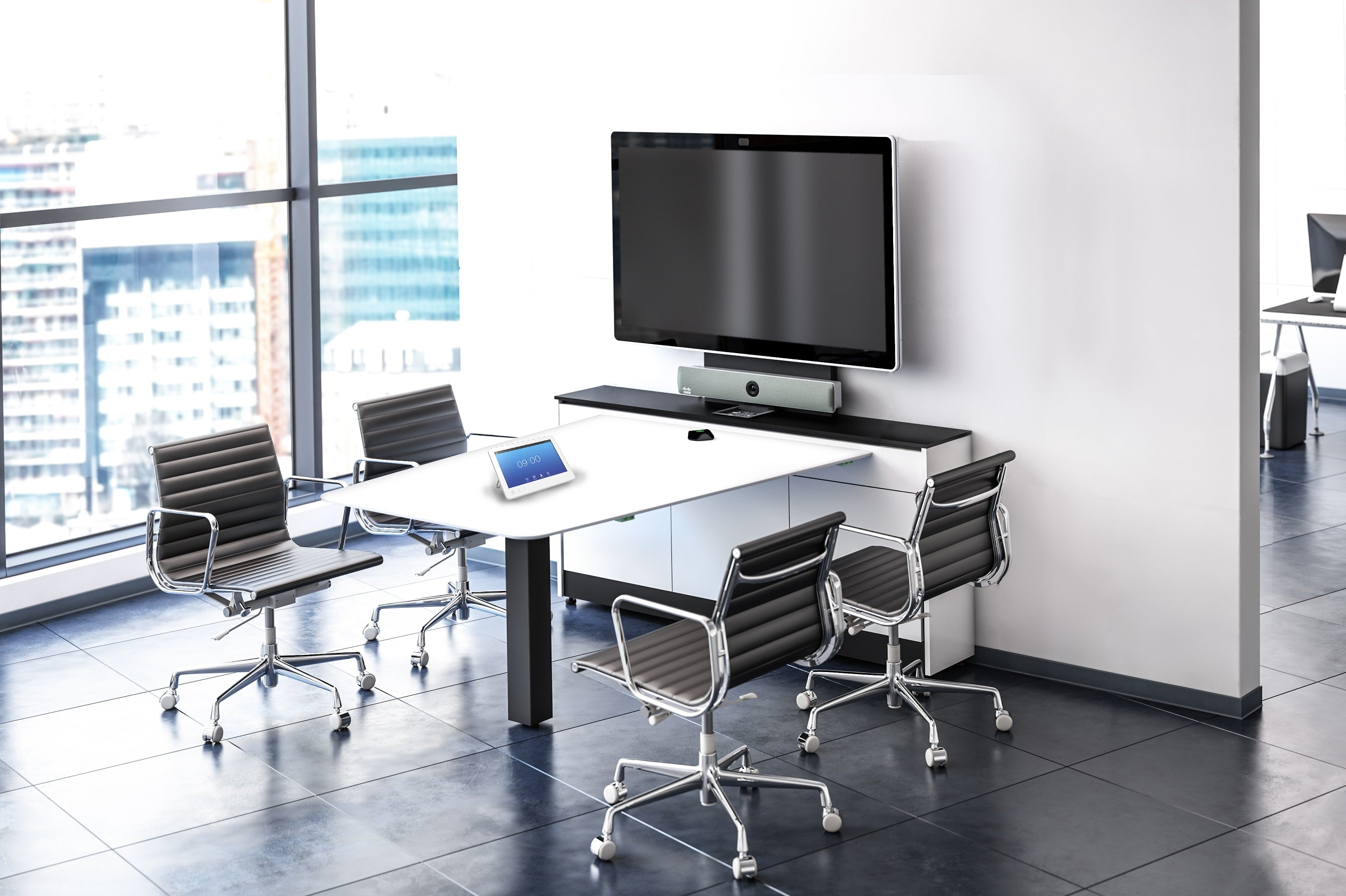 Unifi Huddle with a screen, up tp 4 people can be seated