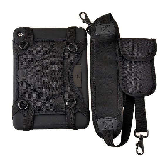 A protective case and a shoulder strap