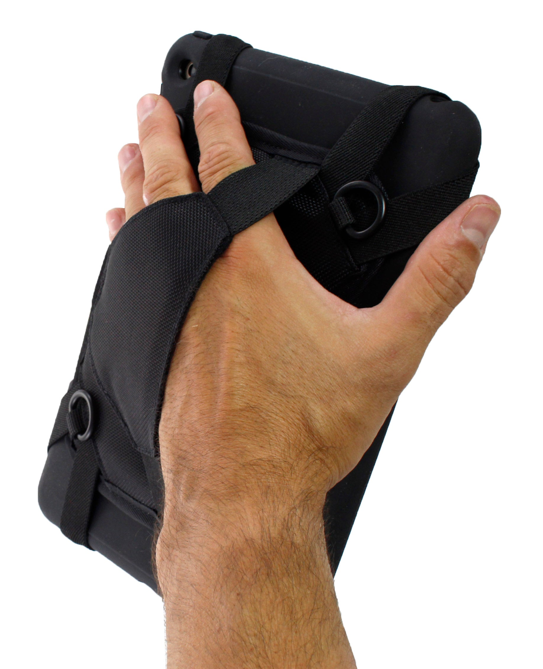 A hand strap helps to reduce fatigue