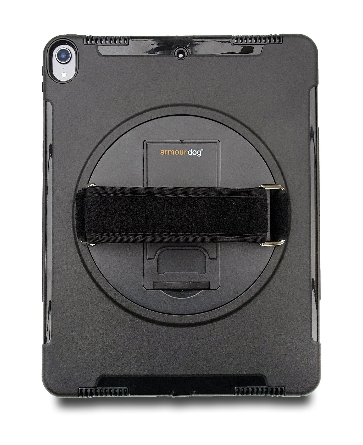 An adjustable hand strap is placed at the back of the case