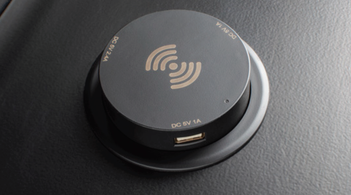 The Unifi Huddle table has an extra option of wireless Qi Charger
