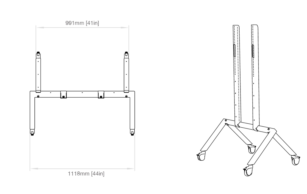 Heckler AV Cart legs dimensions