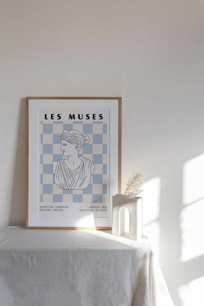 Checkered Blue Pastel Museum Poster Print