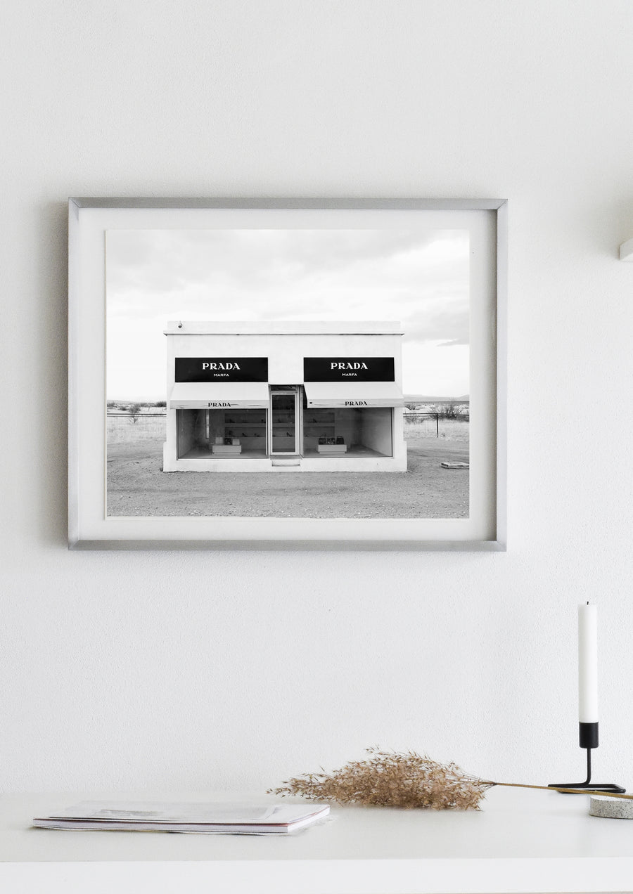 Prada Marfa Black & White photography poster | Digital download - Printable Poster prada marla art print black and white